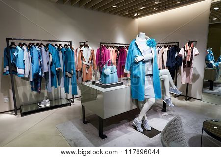 HONG KONG - JANUARY 26, 2016: inside of Max Mara store. Max Mara is a luxury Italian fashion house belonging to the group of companies under the Max Mara Fashion Group holding.