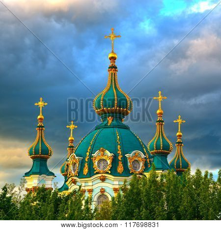 Golden Domes Of Saint Andrew's Church In Kiev