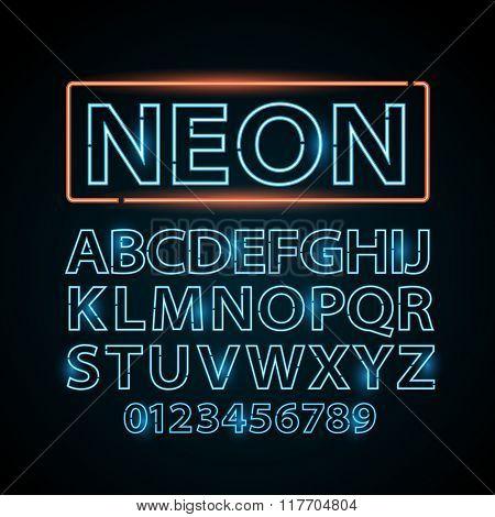 Vector blue neon lamp letters font show vegas light sign theater