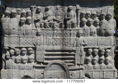 Base of the Obelisk of Theodosius in Istanbul Turkey poster