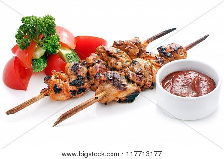 Skewers Of Chicken With Vegetables