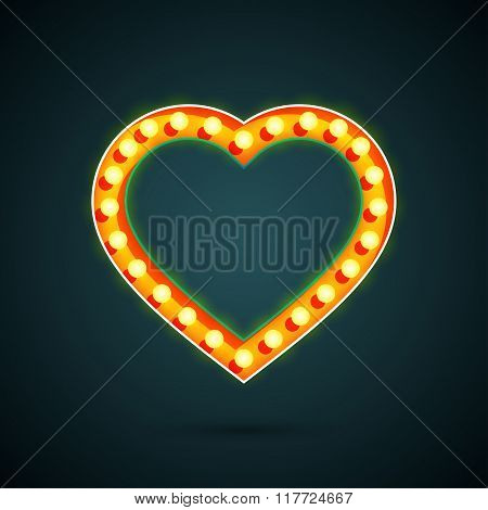Valentines Day Heart With Light Bulbs.
