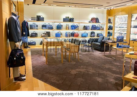 HONG KONG - JANUARY 26, 2016: interior of Dunhill store. Alfred Dunhill, Ltd. is a British luxury goods brand, specialising in ready-to-wear, custom and bespoke menswear, leather goods and accessories