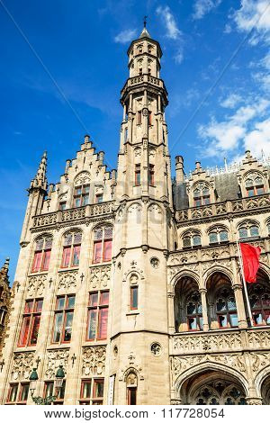 Bruges Belgium. Provinciaal Hof built in 1284 neogothical building on the Grote Markt place in Bruges Belgium.