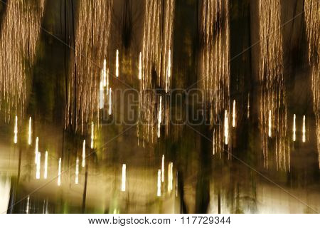 Abstract light on a tree in slow exposure