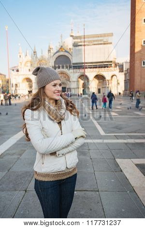 Happy Young Woman Spending Time On Piazza San Marco, Venice