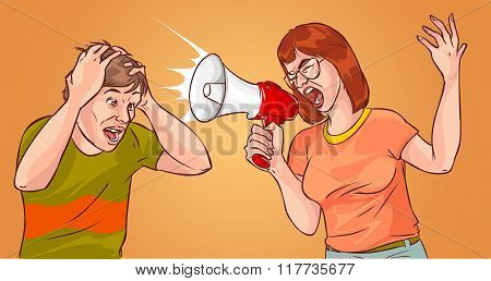 Young Woman Yelling Through Loud Speaker