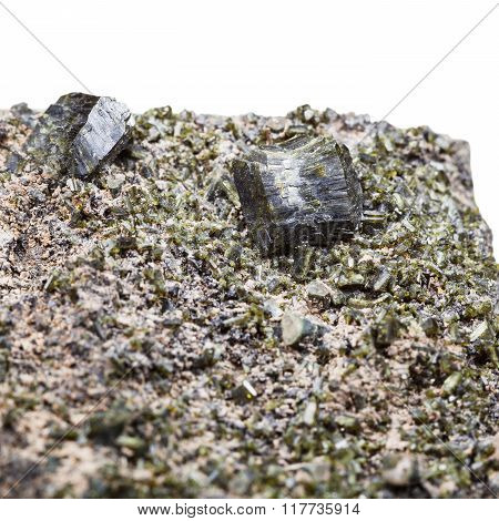 Druse Of Green Epidote Crystals Close Up On Rock