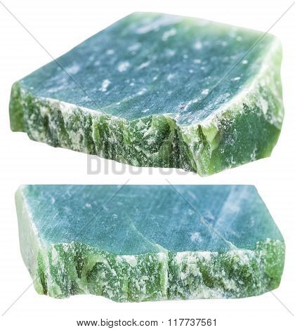 Two Pieces Of Green Nephrite Gemstone Isolated