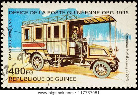 Old Autobus Bussing (1904) On Postage Stamp