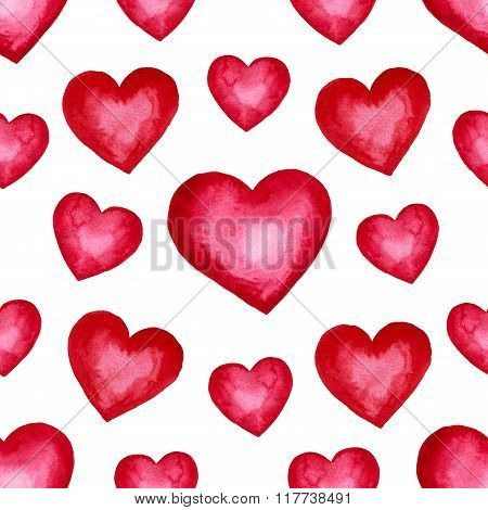 Cute watercolor background Red hearts