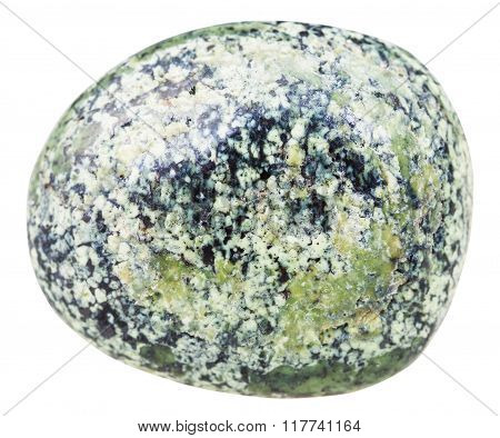 macro shooting of natural mineral stone - tumbled serpentine (Serpentinite) gemstone isolated on white background poster