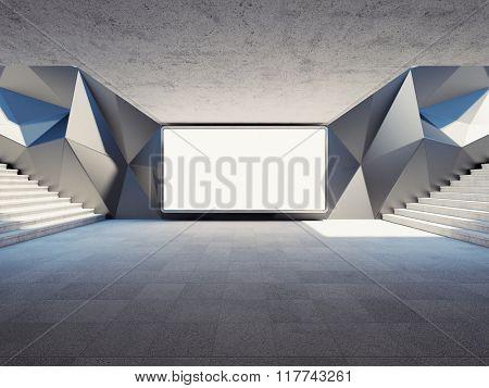 Blank advertising billboard on concrete wall in underground. 3d rendering.