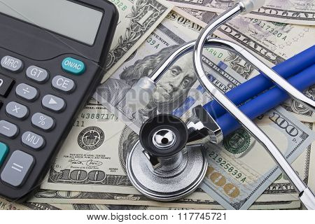 Usd Bank Notes And Calculator Showing Cost Of Health Care