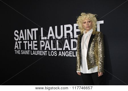 LOS ANGELES - FEB 10: Lady Gaga arriving at the Saint Laurent fashion show at the Hollywood Palladium on February 10, 2016 in Los Angeles, California