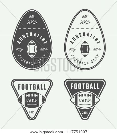 Set Of Vintage Rugby And American Football Labels, Emblems And Logo. Vector Illustration