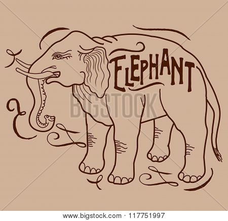 Big Animal. Elephant On A Beige Background. Elephant With A Sign. Contour Elephant. Hand Drawing Of An Elephant. Elephant From The Side. Vector Drawing Of An Elephant. Vintage Elephant.