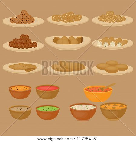 Vedic Indian cuisine, set of vegetarian healthy food, traditional meal of India poster