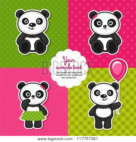 set of panda bears