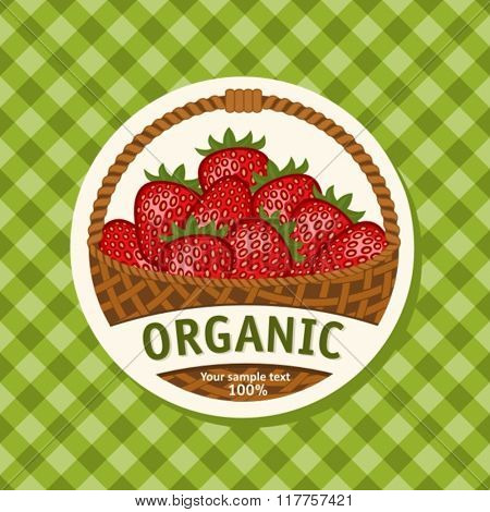 Ripe Strawberries in Wicker Basket. Vector Illustration