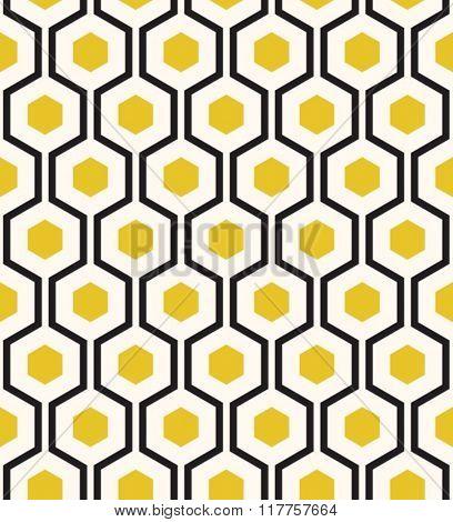 Retro geometric hexagon seamless pattern.