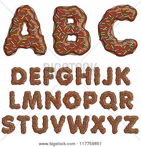 Donut font, tasty alphabets. Isolated objects
