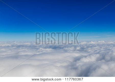 Blue horizon and white clouds, aerial shot