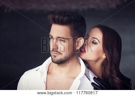 Sexy Milf Woman Whispering Macho Man