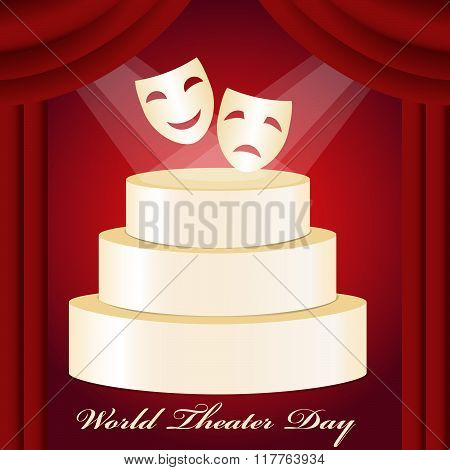 Theatrical mask gold podium red curtain and World Theater Day