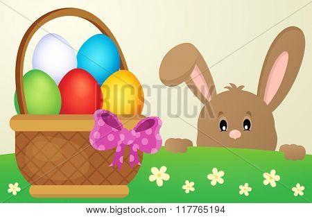 Lurking Easter bunny and egg basket - eps10 vector illustration.