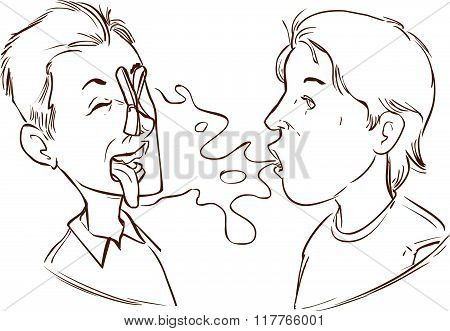 Vector Illustration Of A  Medical Halitosis