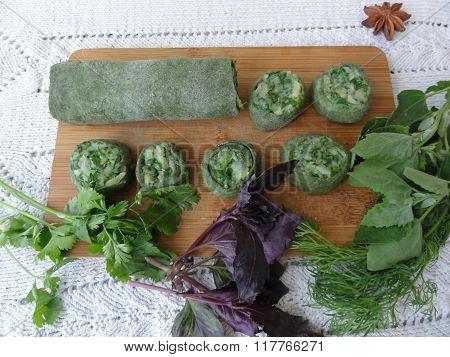 Green dough nettles roll stuffed