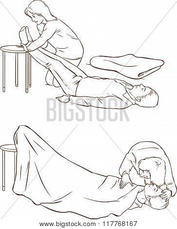 Vector Illustration Of A Fainting In Shock And First Aid