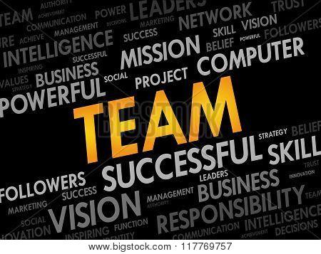 TEAM word cloud business concept, presentation background