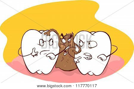 Vector illustration of a food trapped between teeth
