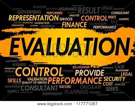 EVALUATION word cloud business concept, presentation background