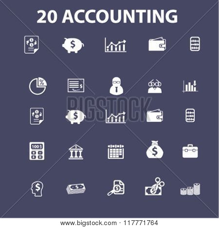 Accountant icons, signs set, vector