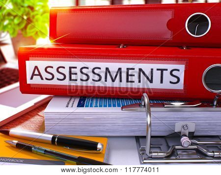 Red Office Folder with Inscription Assessments
