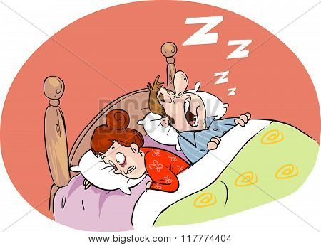 White Backround Vector Illustration Of A Loud Snoring Husband