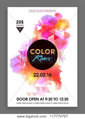 Colorful abstract design decorated Flyer, Banner or Template presentation for Music Party celebration.