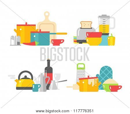 Kitchen dishes vector flat icons isolated on white background. Kitchen sign, kitchen tools. Everyday dishes icons. Kitchen symbols isolated