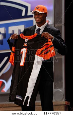 A. J. Green is introduced as the fourth pick to the Cincinnati Bengals at the NFL Draft 2011 at Radio City Music Hall in New York, NY.