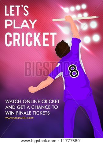 Batsman holding wicket stump on spotlight, Creative Template, Banner or Flyer for Cricket Sports concept.