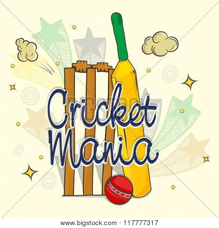 Creative Bat with Ball and Wicket Stumps on stars decorated background for Cricket Mania concept.