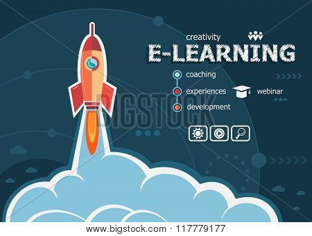 Online E-learning Design And Concept Background With Rocket.