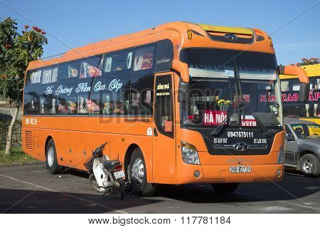 Intercity bus company Hyundai arrived from Hanoi. The bus station of Dalat city, Vietnam