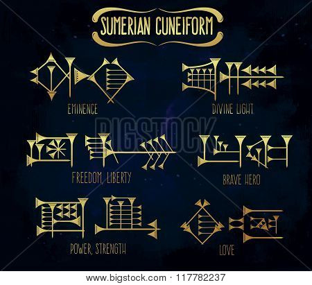 Sumerian cuneiform words meanings tattoo set.