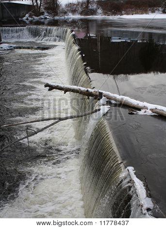 Winter River Waterfall