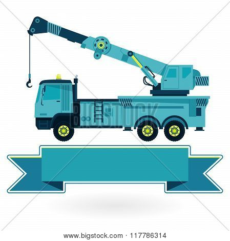 Nice blue big crane with hook and arm on white, construction machinery vehicle.