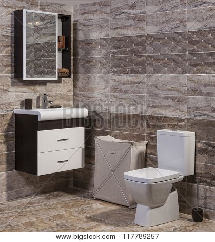 Inside Of Fashionable Bathroom - Toilet And Sink